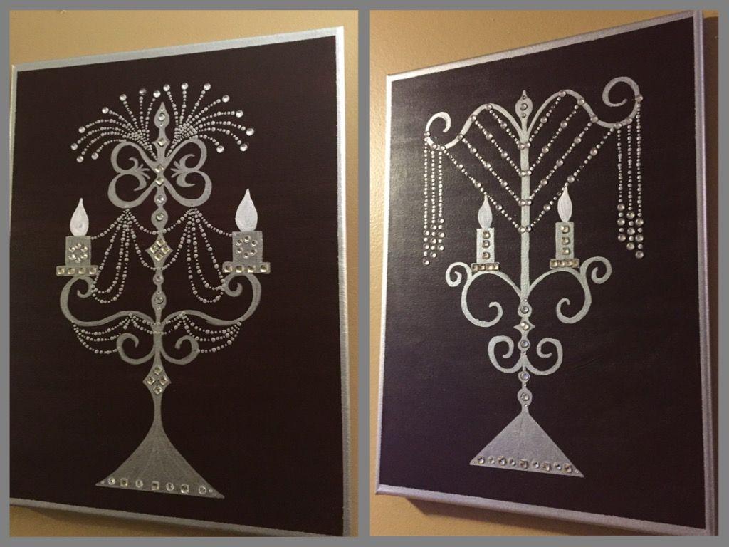 By valerie rose standup chandeliers on canvas with acrylic by valerie rose standup chandeliers on canvas with acrylic metallic paint and adhesive rhinestones arubaitofo Gallery