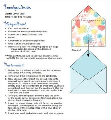 Envelope Liner Template Diy Printable Envelope Liner Template