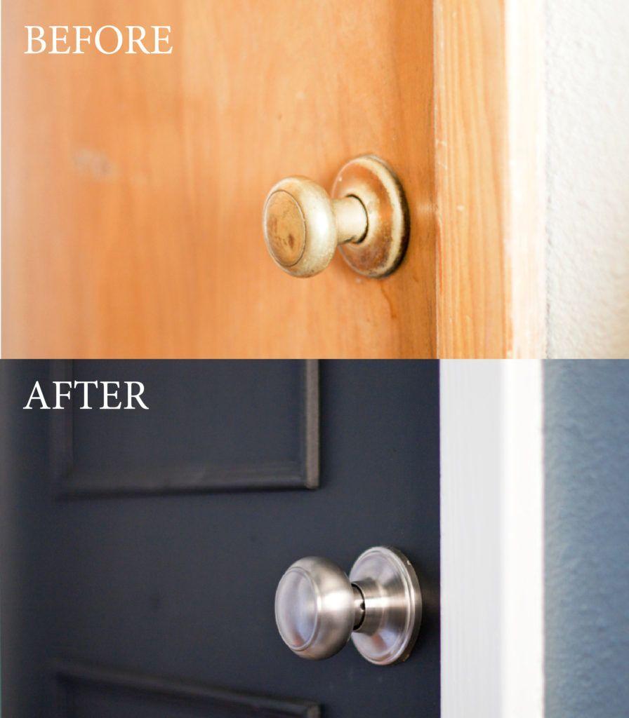 Take The Tour Neutral Calm Bathroom Reveal Painting Interior Doors Black Diy Interior Doors Painted Interior Doors
