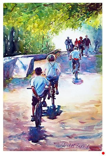 "Cycling on the towpath by Graham Berry Watercolor ~ 19"" x 12"""