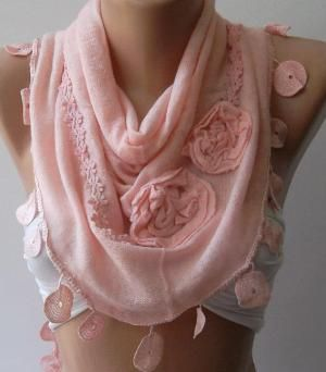 Light Pink \  Elegance Shawl by womann on Etsy