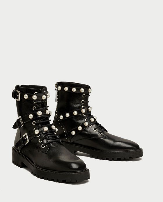 image 1 of leather ankle boots with faux pearls from zara. Black Bedroom Furniture Sets. Home Design Ideas