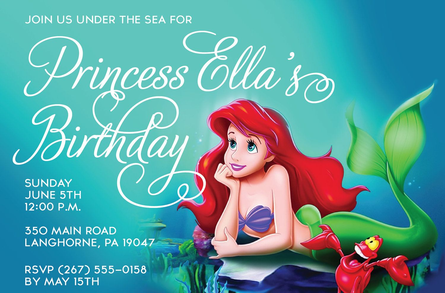 Little Mermaid Birthday Invite Template Mermaid Under The Sea