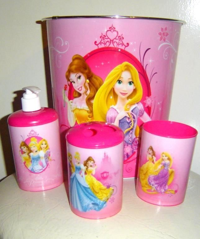 For Your Little Princess Disney Bath Set 3 Piece Accessory Plus Wastebasket Pretty Pink 20