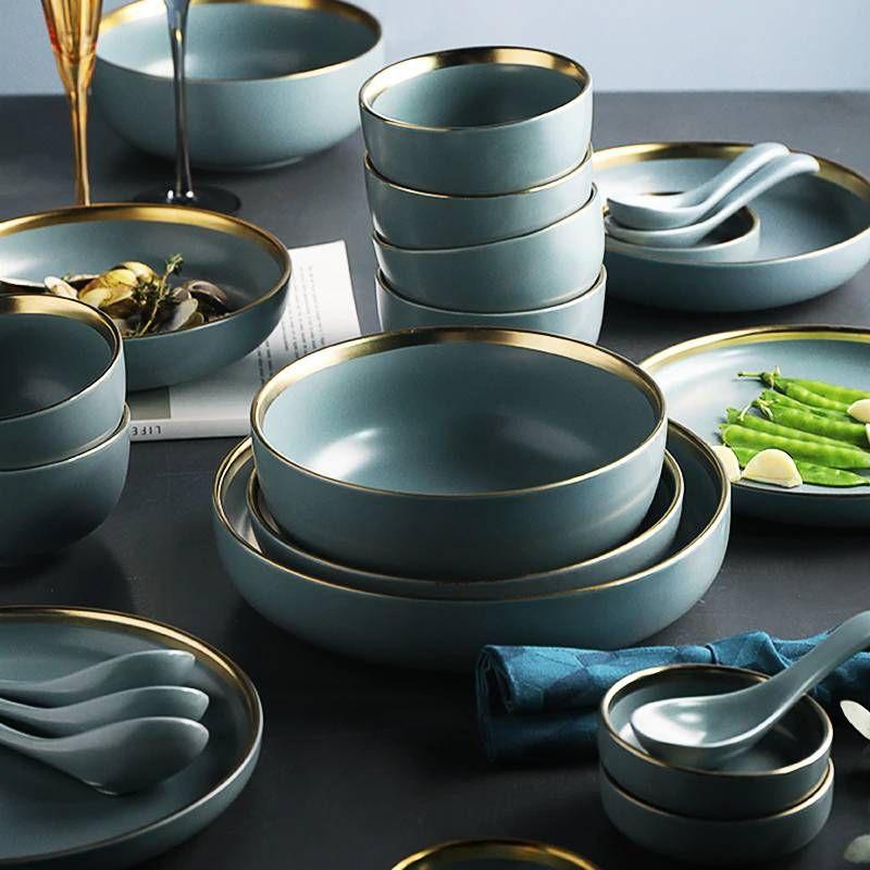 Kinglang 2 Or 4 Or 6 Person Set Golden Edge Plates Ceramic Dinnerware Set New Blue Golden Ceramic Tableware Set In 2020 Ceramic Tableware Dinnerware Tableware