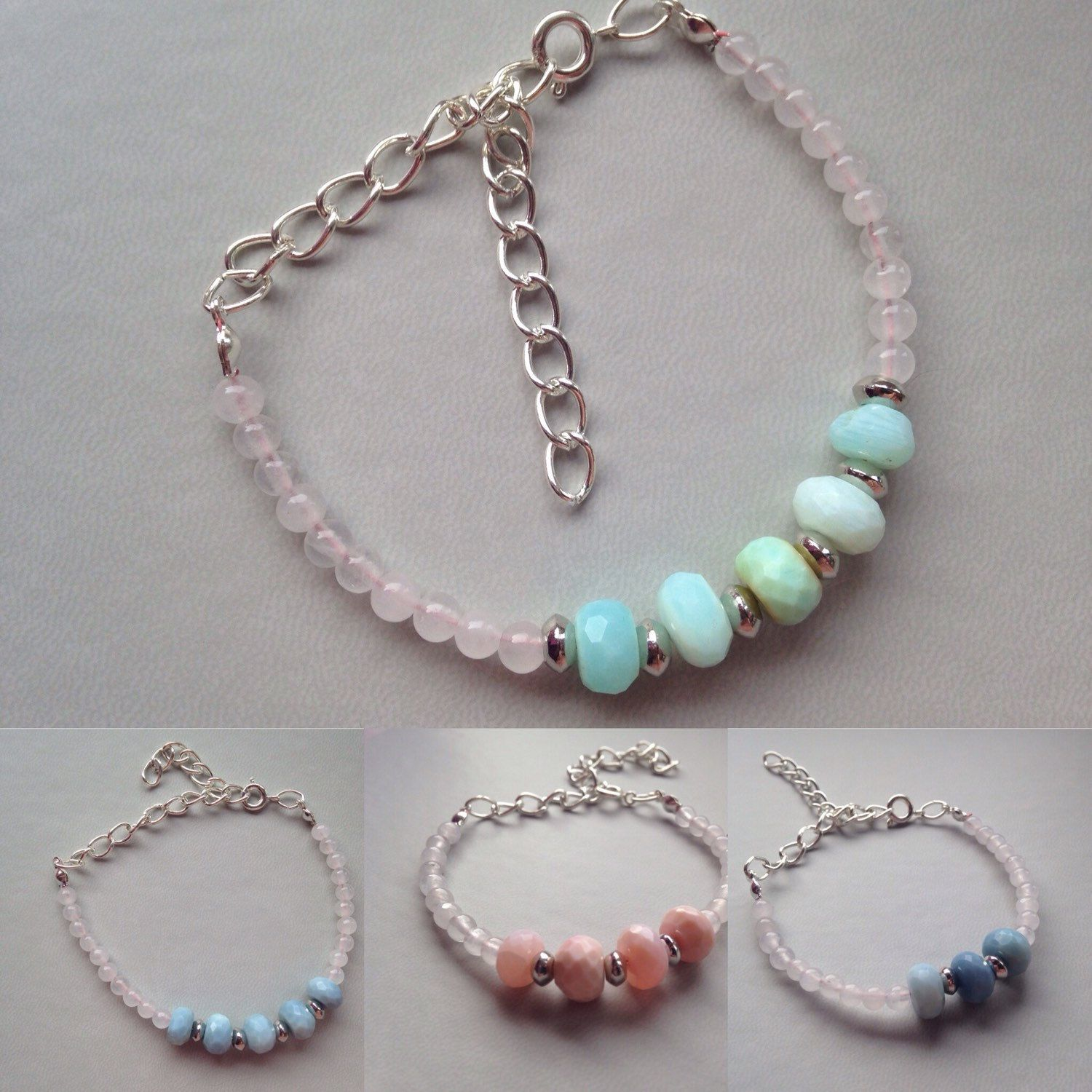 New Peruvian opal & snow quartz bracelets with oval link extension chain. Available in pink soft blue and pastel green