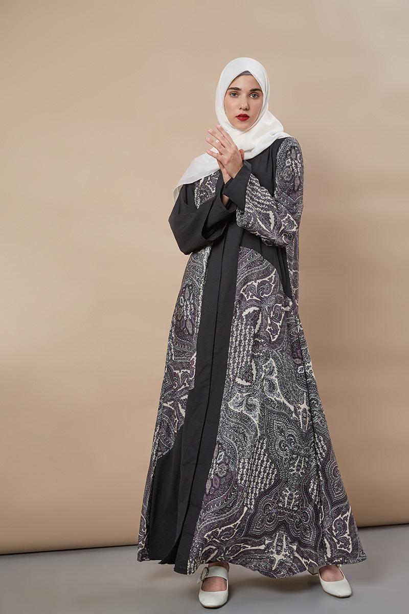 Irsalina Abaya Grey  Gaya abaya, Gaun, Model pakaian