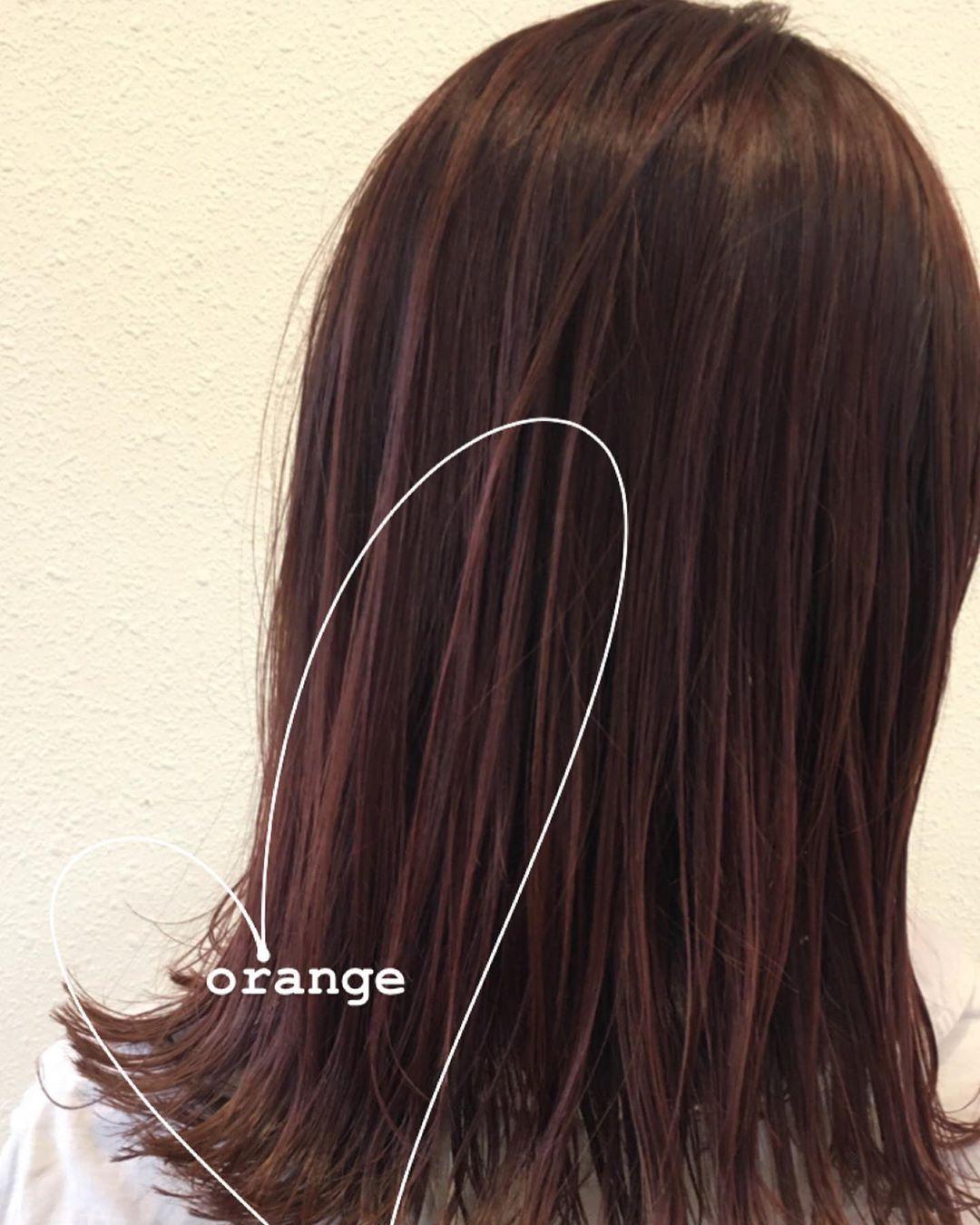 オレンジブラウンカラー 毛先だけブリーチ履歴あり 透明感