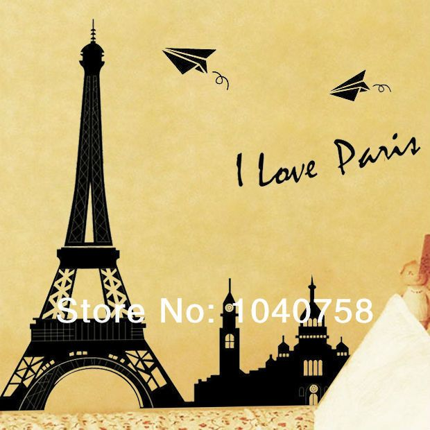 Paris Eiffel Tower Decoration Wall Decals Vinyl Stickers Home Decor ...