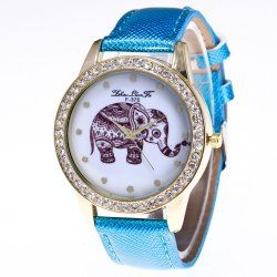 ZhouLianFa The New Trend of Diamond Crystal Gold Business Hugh Elephant Stone Table with Gift Box - Blue   1 x Box PU Leather