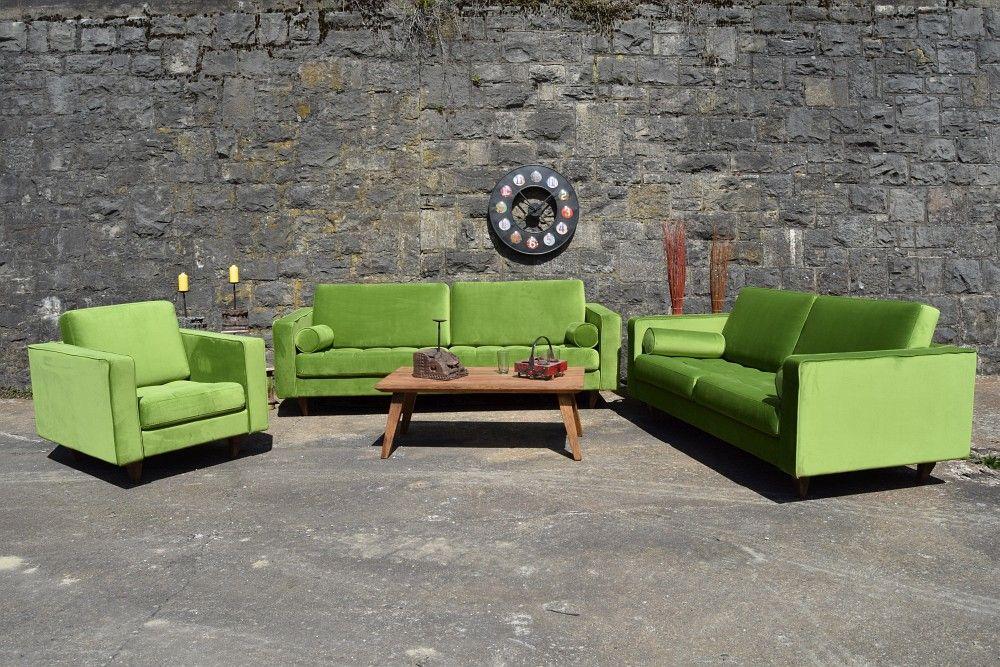 Sofa Samt Grün sofa venice vintage samt grün 2 5 sitzer 190 factory design sofa
