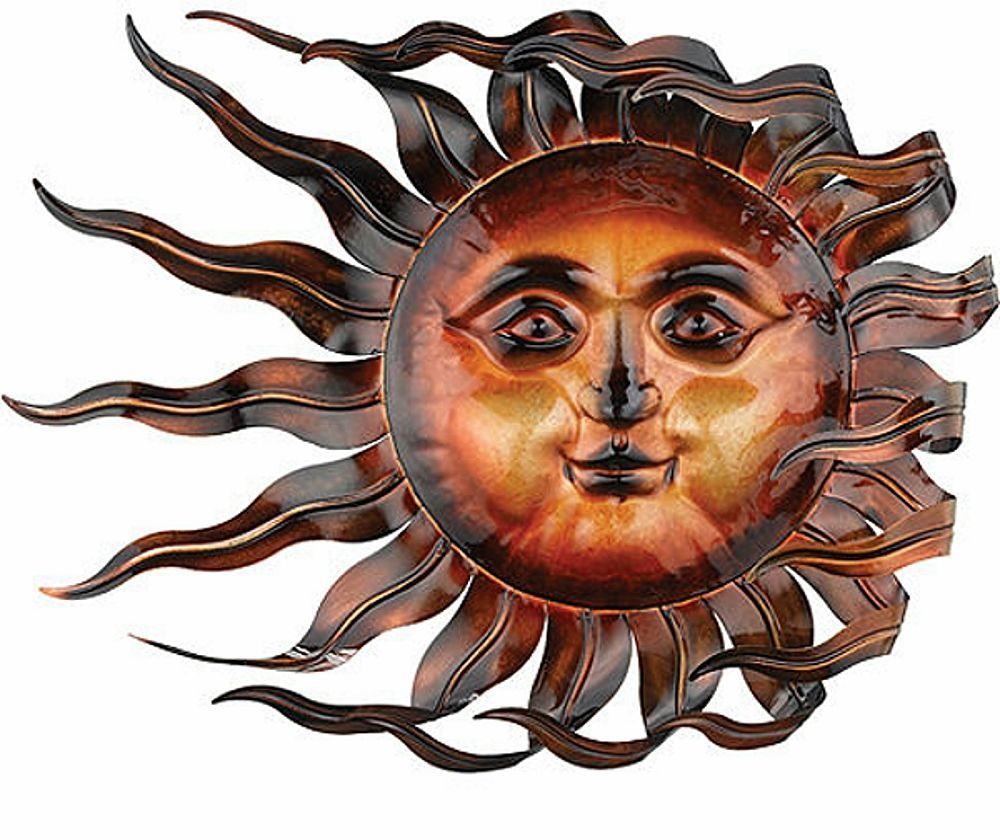 Sunswept Sun Face Wall Art Wind Blown Celestial Indoor Outdoor