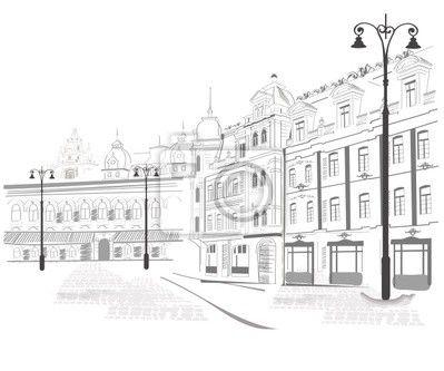 """Fotomurales """"parís, antecedentes, portador - serie de bosquejos de calles antiguas ciudades"""" ✓ Montaje sencillo ✓ 365 días para devolver ✓ ¡Mira otros diseños de la colección!"""