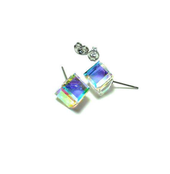 Cube Studs Swarovski Crystal Aurora Borealis Stud Earrings Cubist