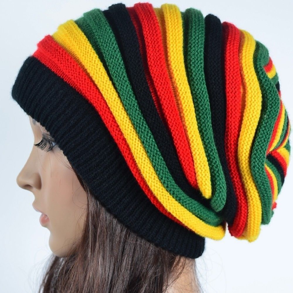 Unisex Men Lady Women Knit Knitted Winter Slouch Rasta Beanie Hat Double RIBBED