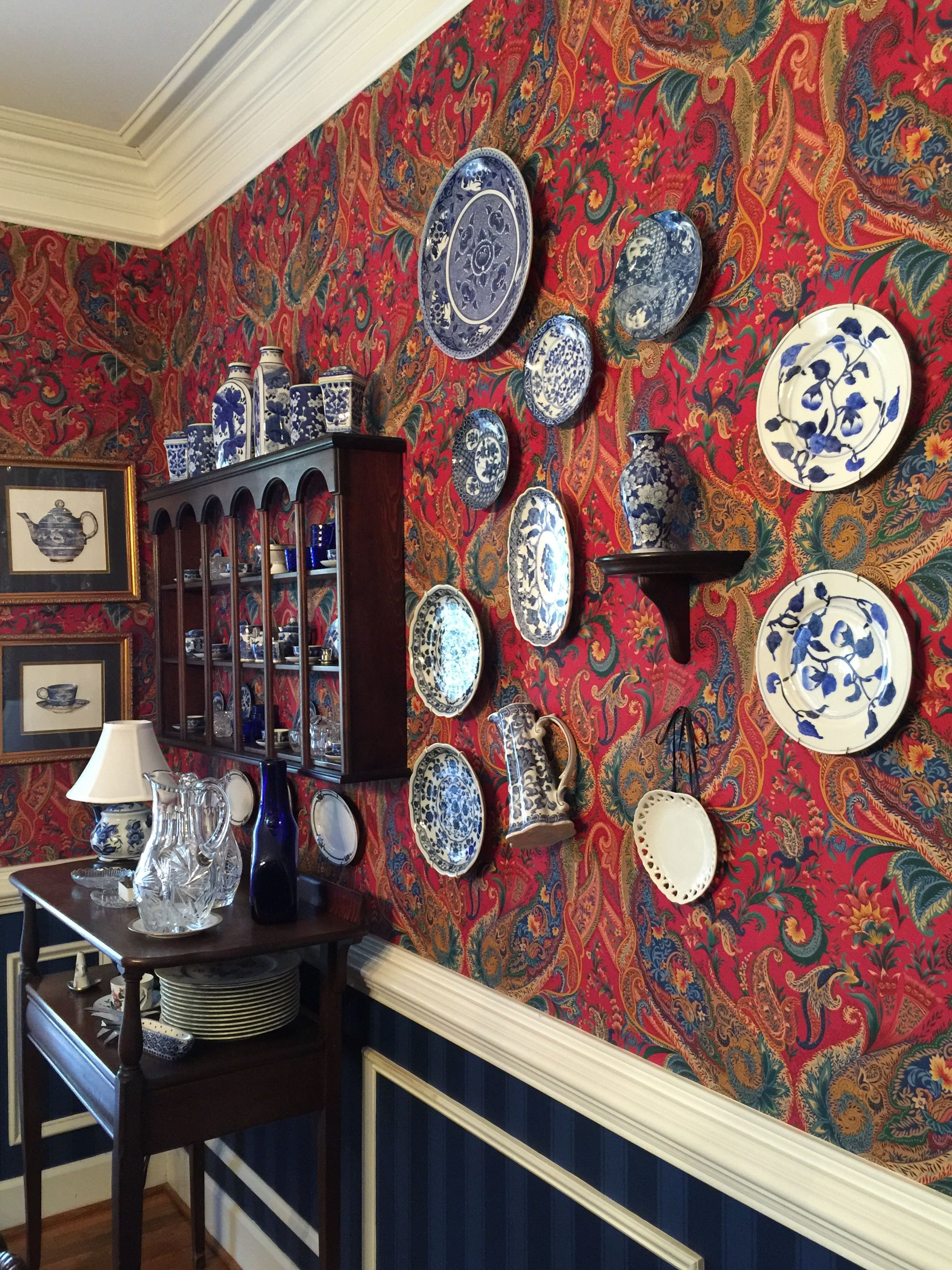 More of my dining room with a paisley Schumacher wallpaper ...