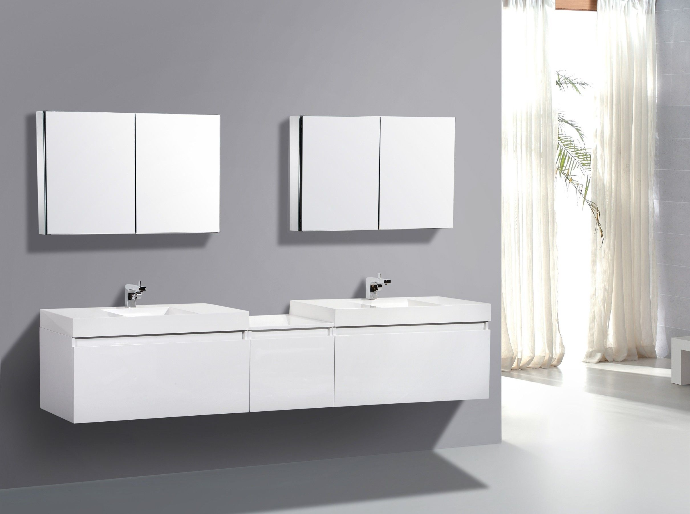 AQUA DECOR Venice 68 Inch Double Modern Bathroom Vanity Set W/ Medicine  Cabinet   White