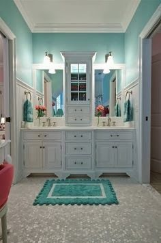 Bathroom colors... love bright color with white.  Substitute teal for a blue maybe.