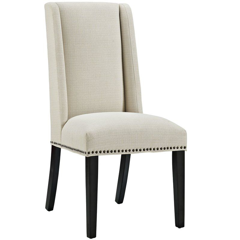 Florinda Wood Leg Upholstered Dining Chair Fabric Dining Chairs
