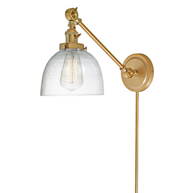 Seeded Glass Dome Swivel Sconce Swing Arm Wall Lamps Sconces