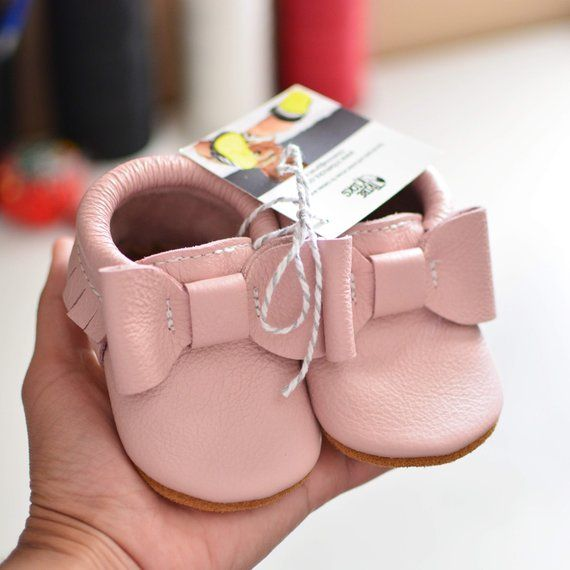 70f91ab64 NEW! Blush Pink Bow Moccs Baby Moccasins Handmade Genuine Leather ...