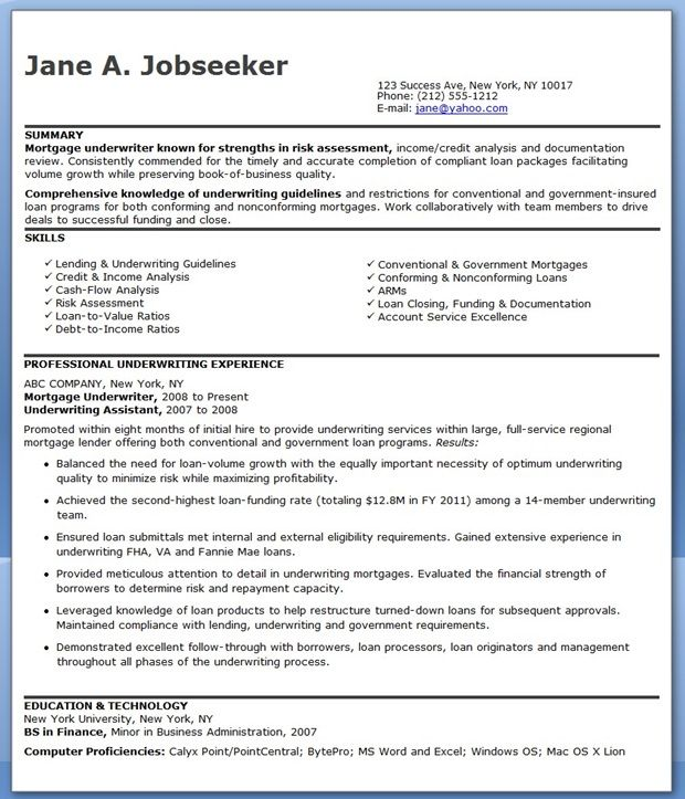 Mortgage Underwriter Resume Examples Creative Resume Design - sample insurance assistant resume