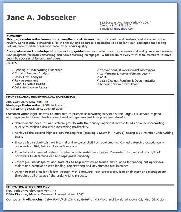 Mortgage Underwriter Resume Examples | Creative Resume Design Templates Word