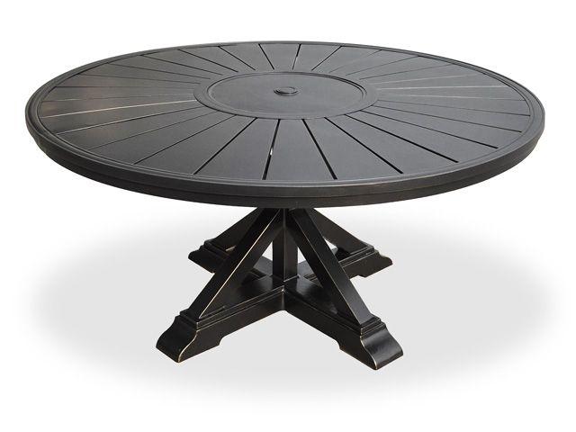 Superb Excelsior 60 Round Cast Aluminum Slat Top Table With Pedestal Base