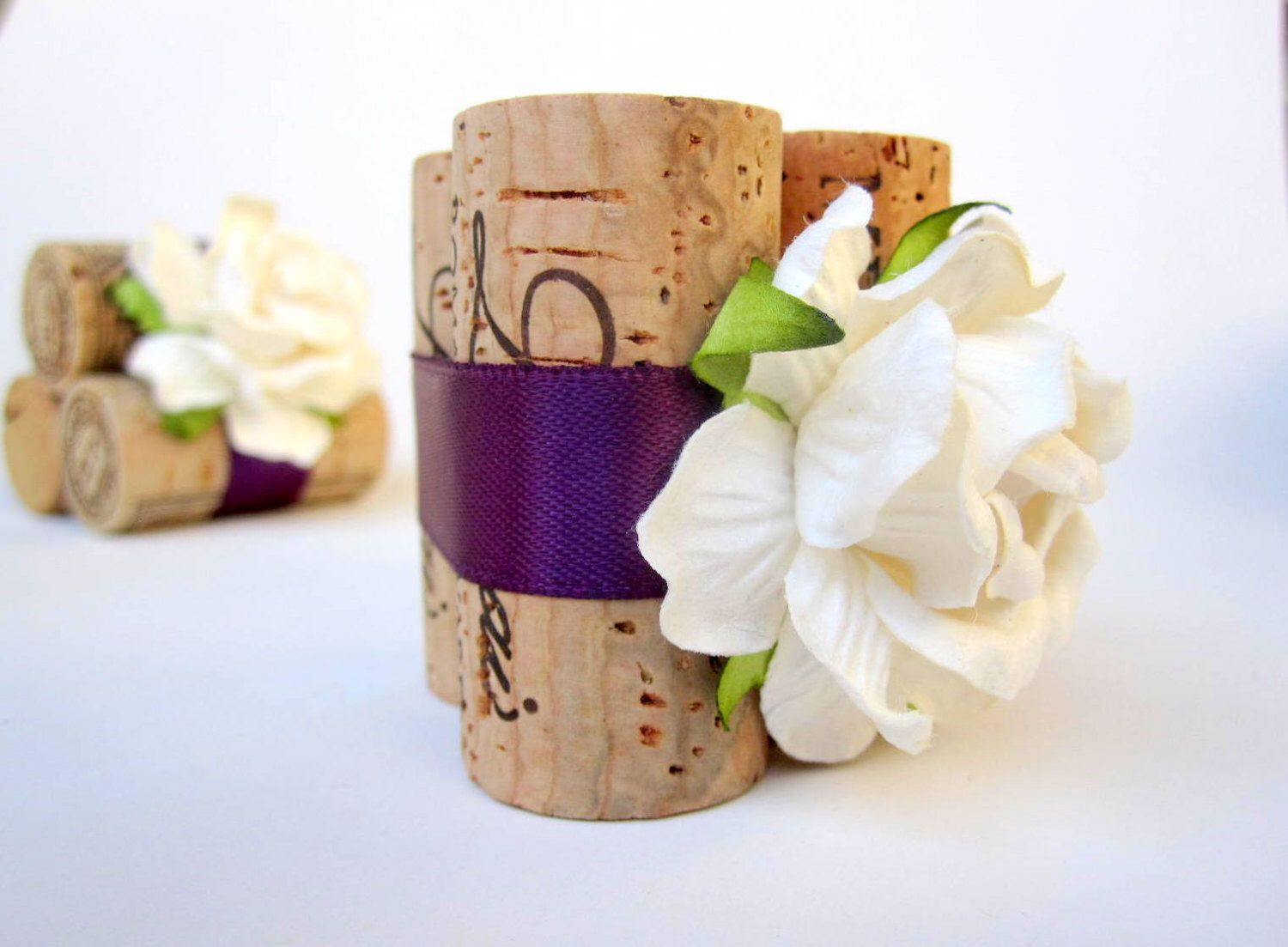 Violet Place Card Holder Wedding Favors Decoration Name Tags Notes Nylon Flowers
