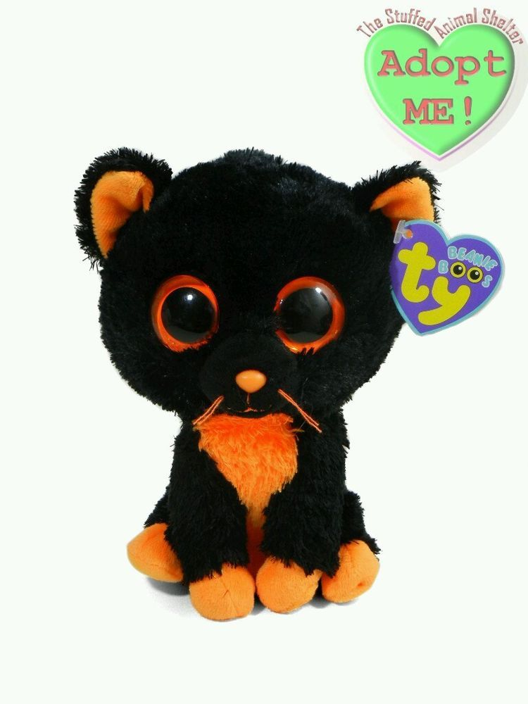 be5b1479af3 Ty Stuffed Plush Beanie Boo Halloween Black Orange Kitty Cat Kitten  Moonlight  Ty