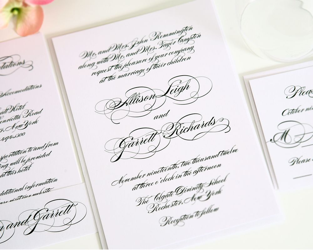All Script Wedding Invitation   Classic, Elegant Design On White Shimmer  Cardstock   Wedding Invitations By Shine