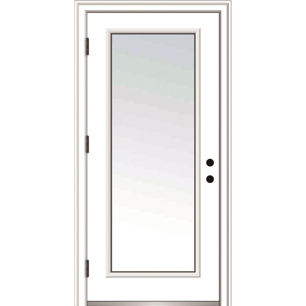 Mmi Door 30 In X 80 In Classic Right Hand Outswing Full Lite Clear Primed Steel Prehung Front Door With Brick In 2020 Front Entry Doors Entry Doors Steel Entry Doors