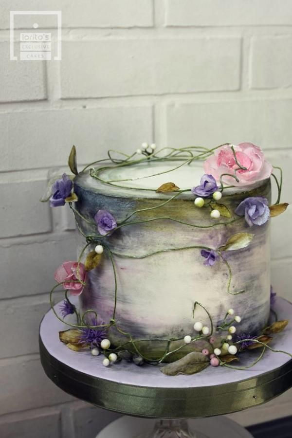 PICTURE THIS IN YOUR COLORS WITH SUNFLOWERS Forest beauty by Lorita It looks like silk ribbons wraps the cake! make a pin cushion like this. #cakedesigns