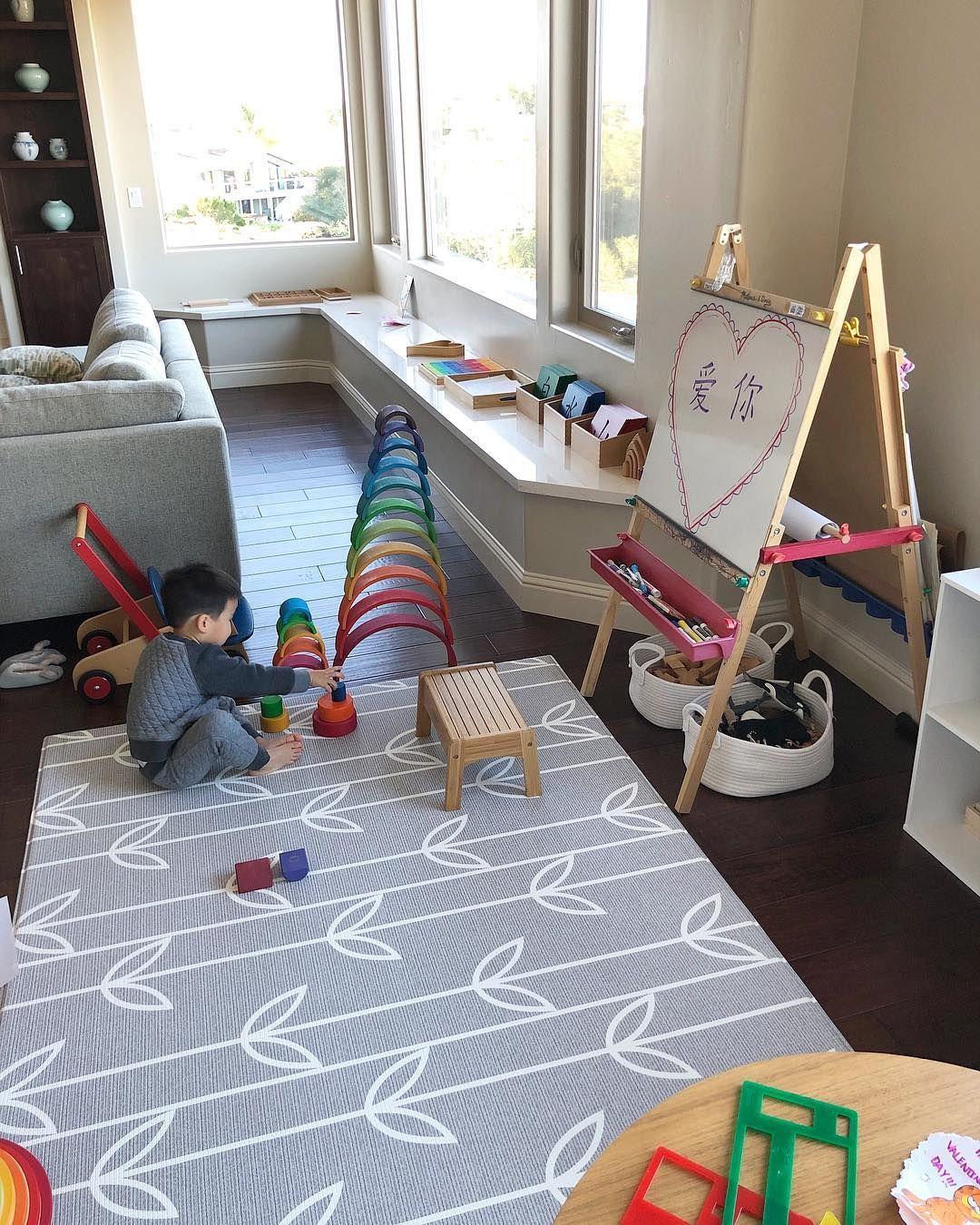 Organized Modern Play Room Kids Rugs Playroom Baby Play Areas #play #area #ideas #living #room