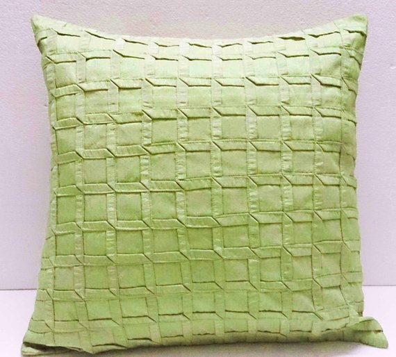 Box Pleated Lime Green Cushion Decorative Cushion Modern Pillow Home