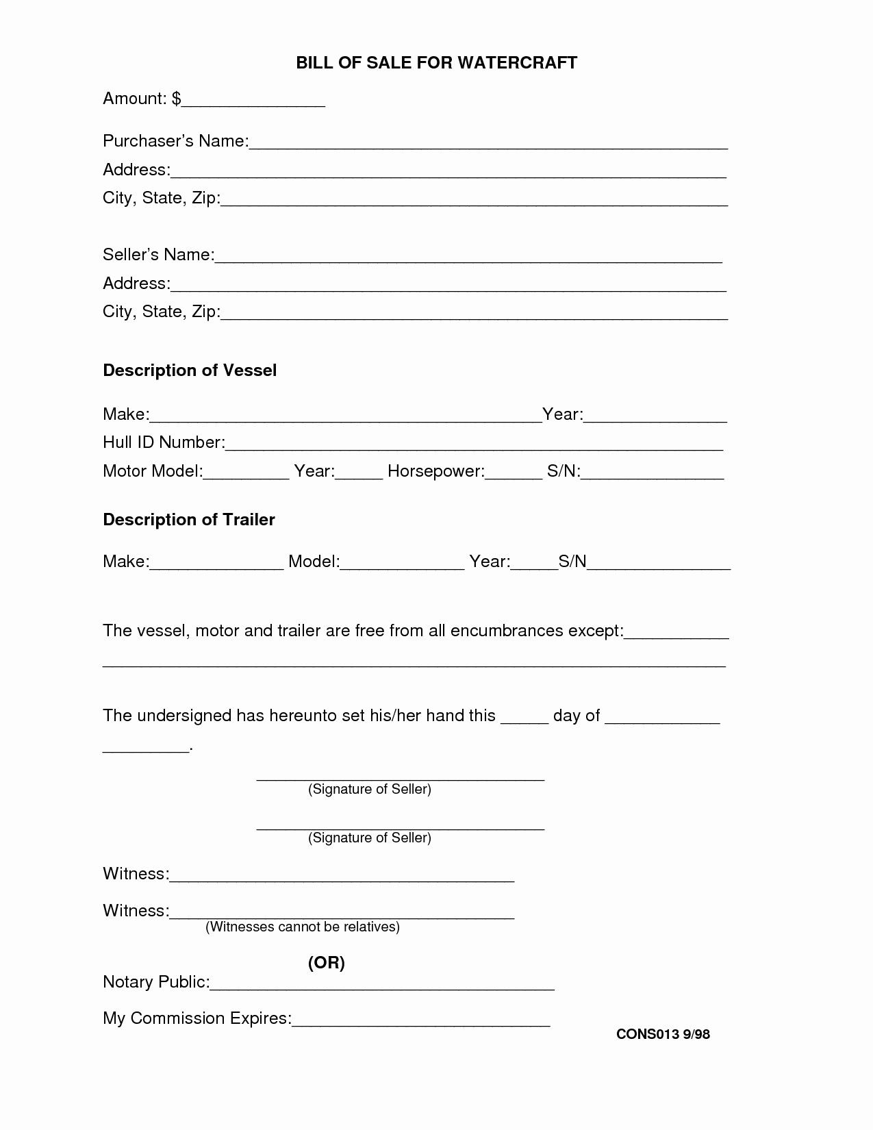 Bill Of Sale Contract Template Lovely Bill Sale Contract ...