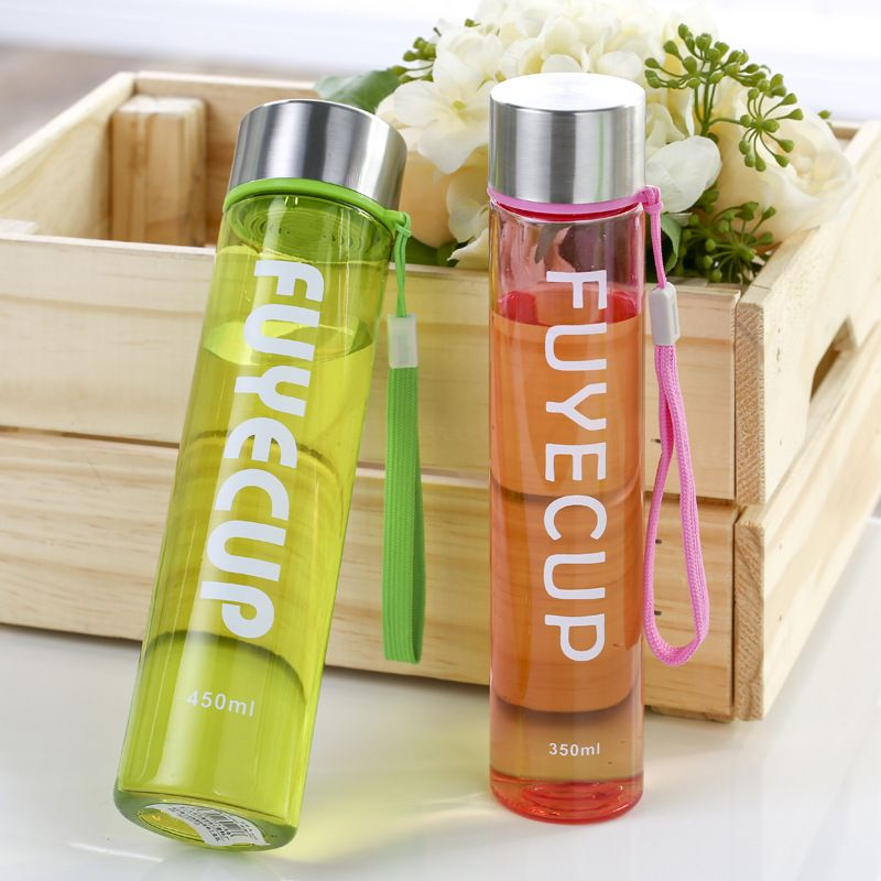 450ML Portable Plastic Water Bottles With Straw Drink