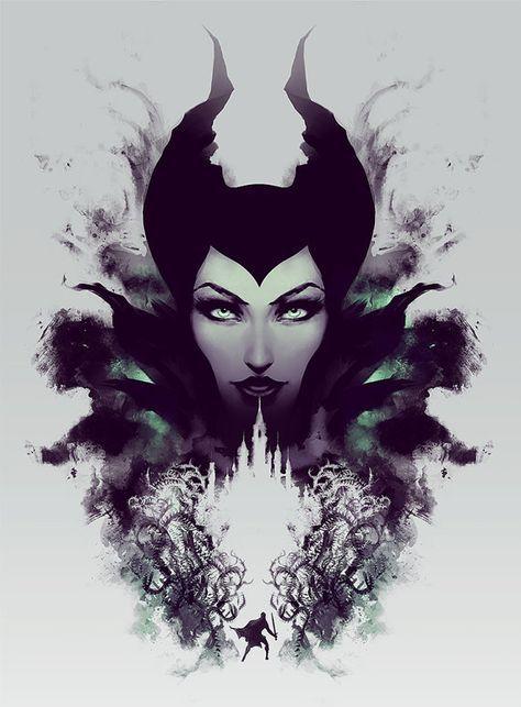 Maleficent Art Print Disney Painting Sleeping Beauty Fairy