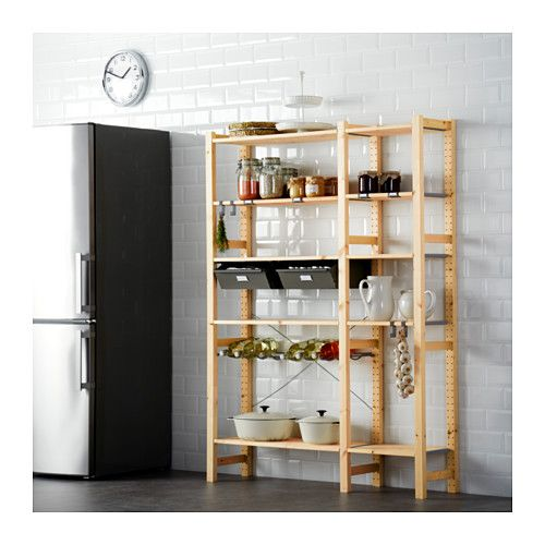 Ikea Cabinets Pantry: IVAR, 2 Sections W/shelves & Drawers, Untreated