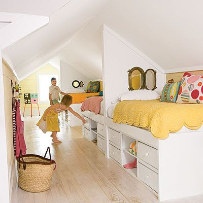 """Create a bunk bedroom in an attic space. """"Back-to-back beds fit just right in this long, narrow room, while the steeply pitched ceiling makes the space cozy for kids. Get the bunks shipshape with peek-a-boo portholes, and pump up the playfulness with whimsical patterns and tangy hues. Built-in storage maximizes limited square footage. The under-the-bed drawers are easy for kids to reach and eliminate the need for bulky dressers."""""""