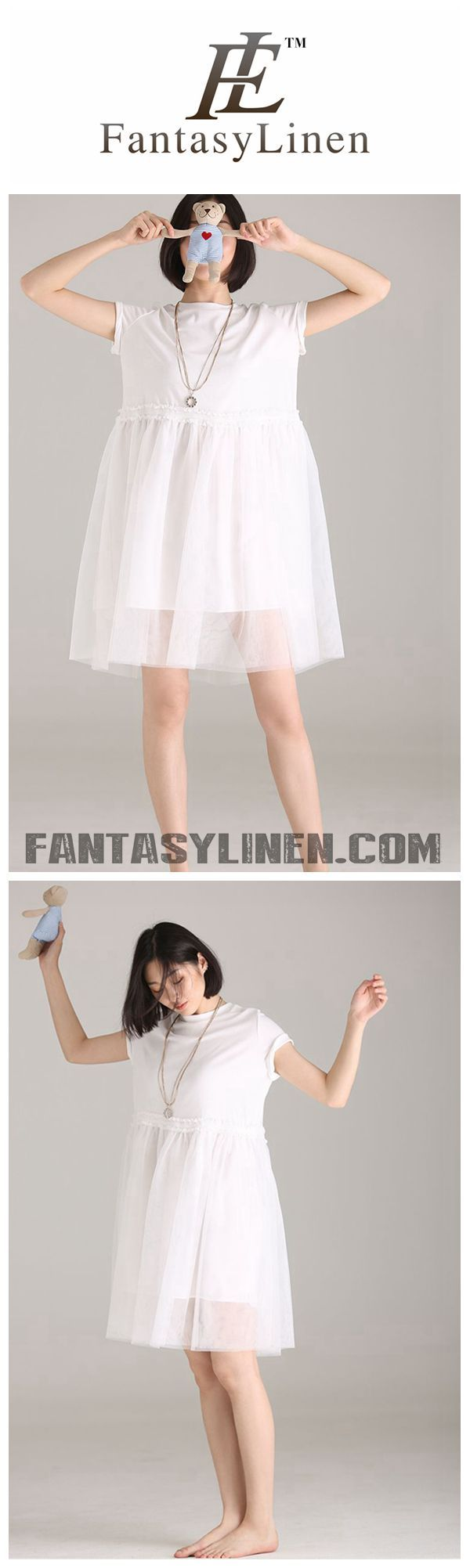 SUMMER CUTE QUILTED WHITE DRESSES WOMEN LOOSE CLOTHES Q8823 ... c919edb94