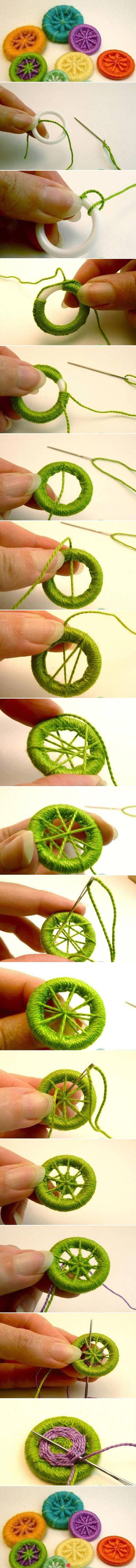 Dorset buttons - I may do a giant one of these with rope and turn it into and outdoor seat/swing.