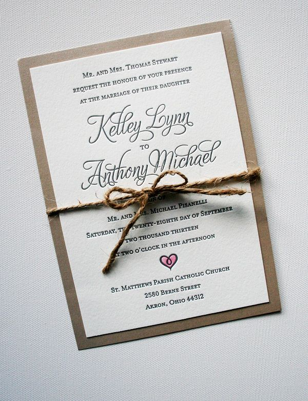 Elegant rustic wedding invitations handpainted heart with