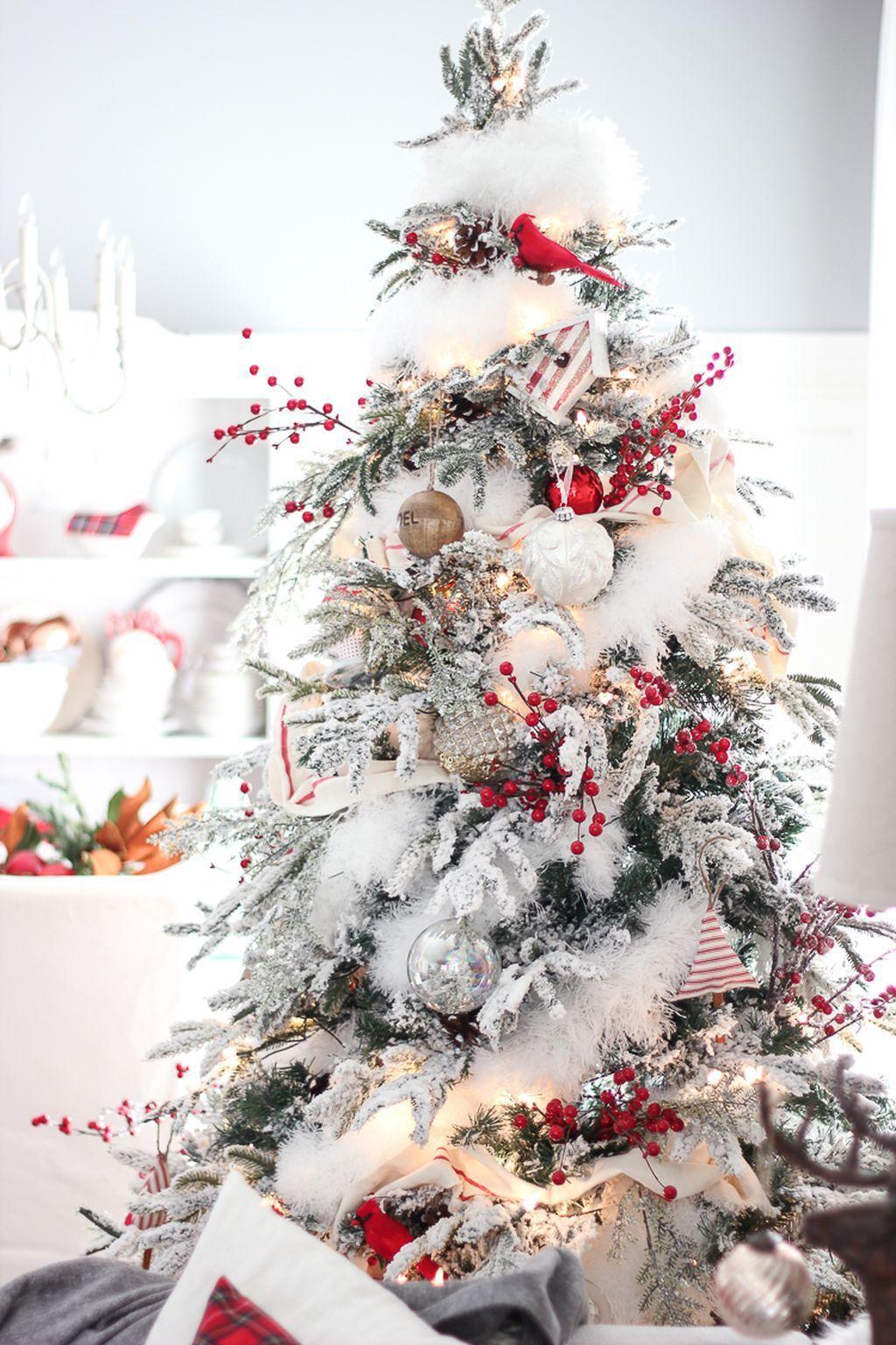 amazing flocked christmas tree decoration ideas dailypatio also rh pinterest