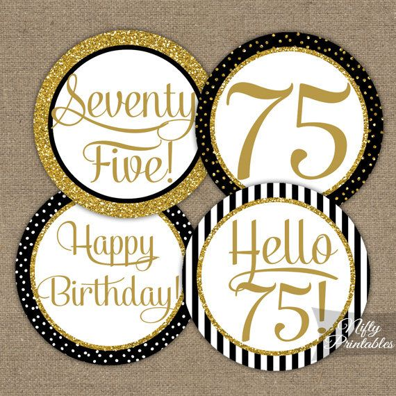 75th Birthday Cupcake Toppers Black Gold 75 By NiftyPrintables 500