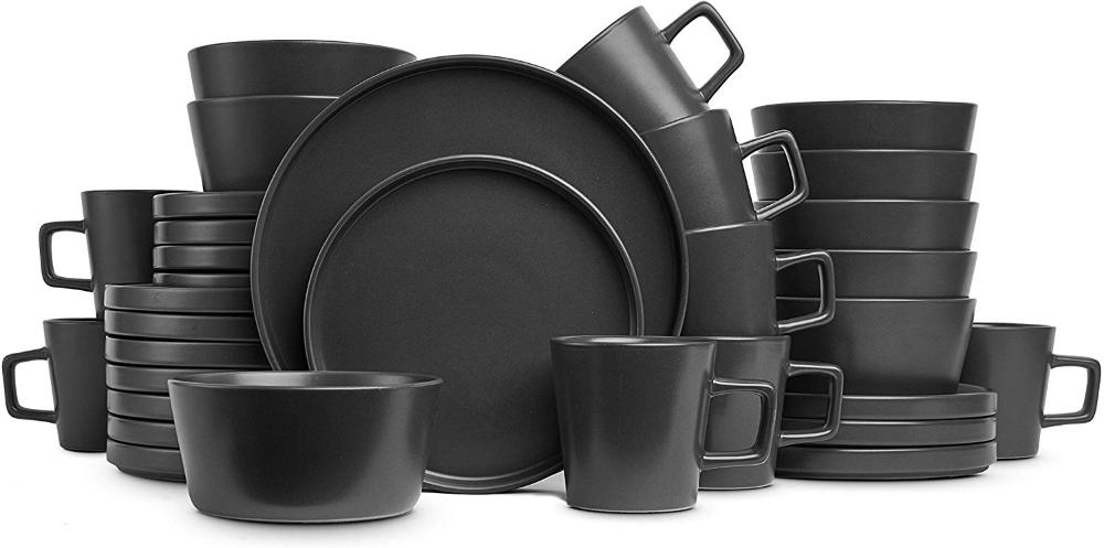 Amazon Com Stone Lain Coupe Dinnerware Set Service For 8 Gray