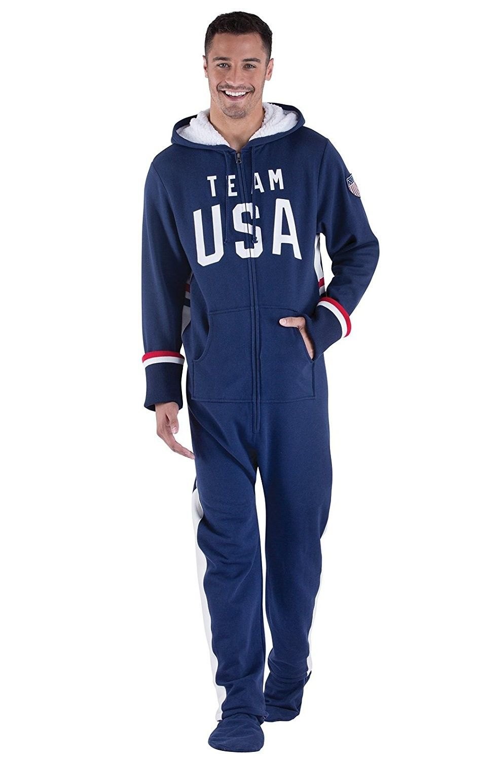 Team Usa Hooded Onesie Footed Pajamas For Men Navy Blue Blue Co17yuwzl4u Mens Outfits Mens Pajamas Mens Flannel Pajamas [ 1500 x 945 Pixel ]
