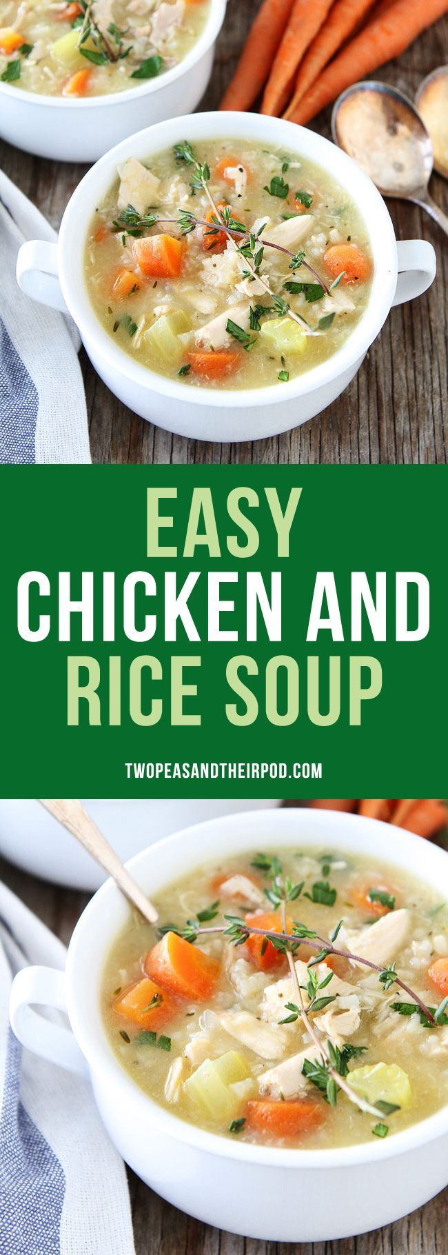 Easy Chicken and Rice Soup is perfect for a cold day and makes a great weeknight meal. It is a family favorite dinner!