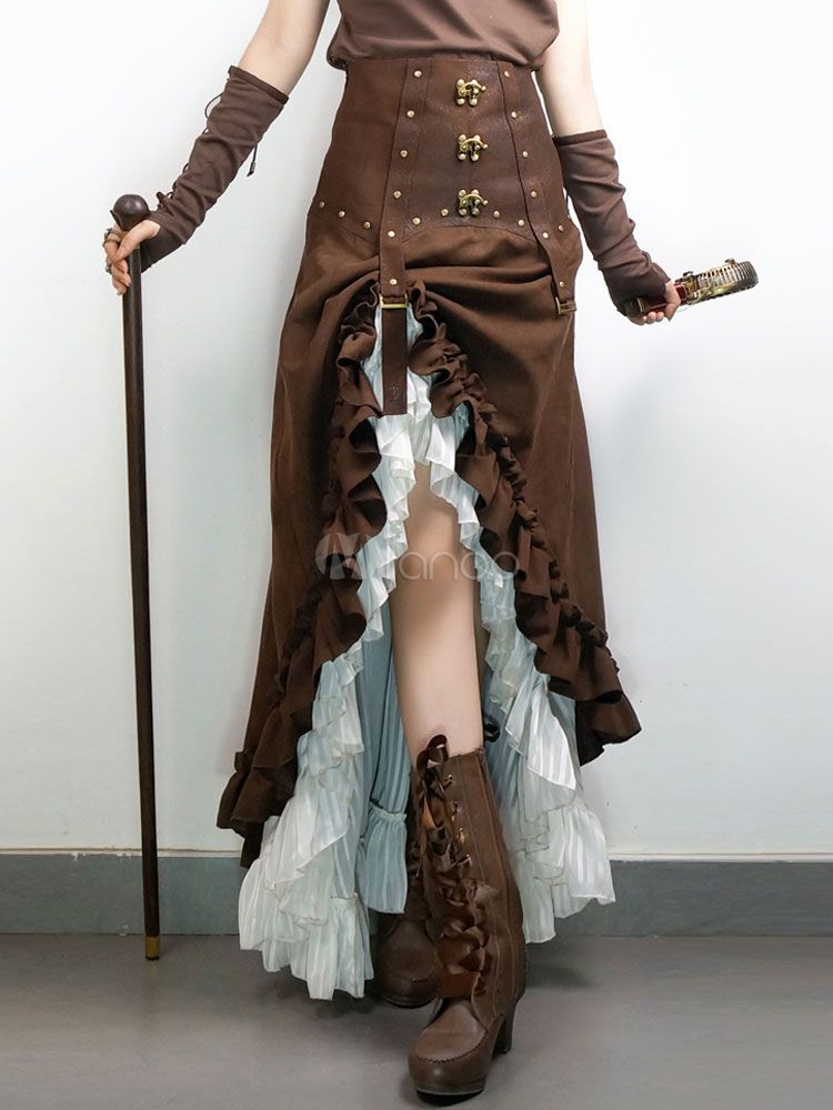 Femmes Gothique Steampunk Jupe Vintage Lolita Longue Jupes