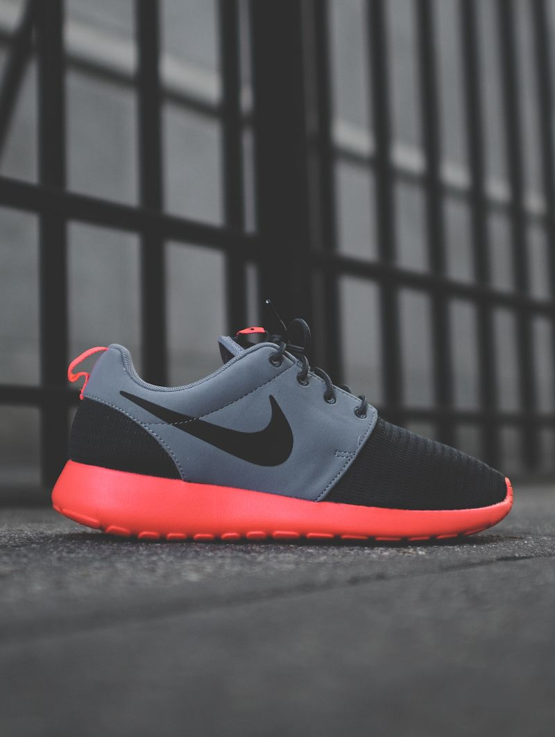 573ca18b009a9 Nike Roshe Run Hyperfuse  Black Grey Orange